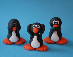 Upgraded See No Evil Penguins (fliepsiebieps1) Tags: sculpture orange white black bird penguin penguins handmade speaknoevil seenoevil craft hearnoevil polymerclay fimo clay figure figurine pinguin pinguine
