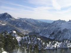View of Gem and Snow lakes and Mt. Snoqualmie to the east (looking south from summit of Wright)