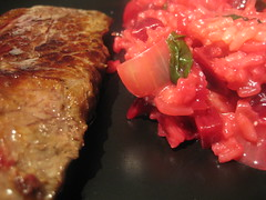 Beet risotto and beef tenderloin