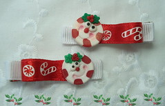 Boutique Peppermint Candy Holly and Berries Silly Face Hair Clippies (suehartman55) Tags: christmas girls holiday candy bow boutique ponytail accessories peppermint hairclip fauxfood dbcb bunnybeadsboutique