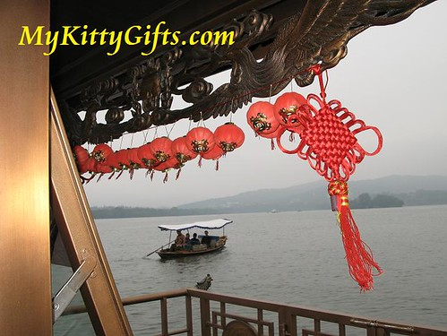 Hello Kitty's View of Boat, Latterns and Rope Knot on Tour Boat of West Lake Boat Trip, HangZhou