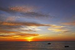 ~~Dreamy Golden Sunrise~~ (mikenpo) Tags: ocean blue sun yellow clouds sunrise boats golden cabo orb cortez