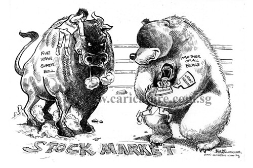 Comic strip illustration - Bull vs Bear watermark