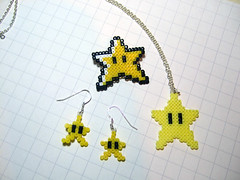 star power! (spugmeistress) Tags: yellow star geek nintendo craft mario retro videogames gamer pixel 8bit etsy powerup geekery folksy hamabeads