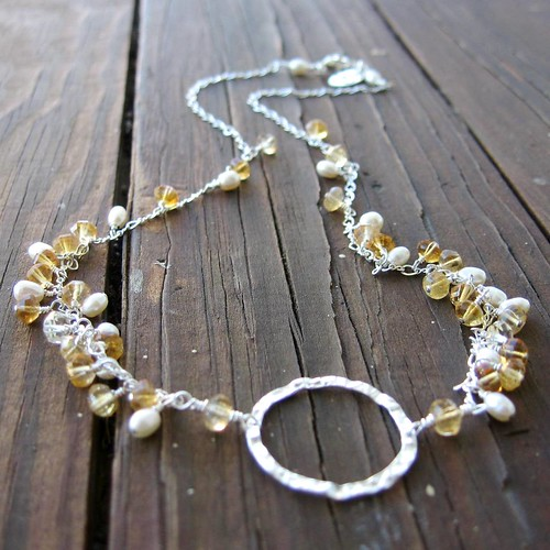 Evening Primrose Necklace - Sterling Silver, Citrine and White Rice Pearl Necklace