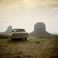 my car in monument valley, 2002 (WOLF CHOIR) Tags: arizona newmexico utah buick colorado great vintagecamera 1960s 1970s monumentvalley regal instamatic buickregal 126film ghettosled japanesecamera gafanscomatic 1985buickregal