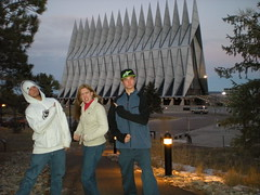 Nick, Clare, and Marcus Strike a Pose at Air Force Chappel