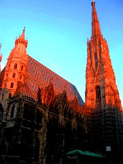 St Stephen's Cathedral, Vienna Twilight, Stephansdom (moonjazz) Tags: vienna wien old travel roof sunset building tower history architecture austria twilight cathedral religion gothic saints landmark steeple spire restoration stephansdom tall important preservation ststephen stephansplatz saintstephan 5photosaday mywinners colourartaward
