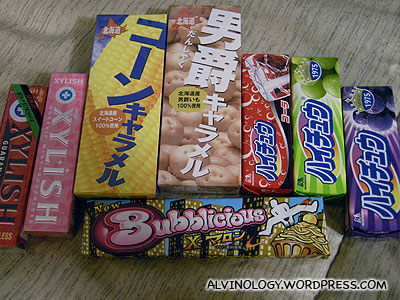 Gums and hi-chew candies we bought