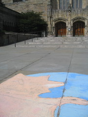Firefox chalking in front of Sterling Memorial Library at Yale