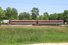 Pair of Algoma Central cars tucked in a northbound CN train at Duplainville (kschmidt626) Tags: road wisconsin pacific wind canadian line southern amtrak milwaukee empire soo cambria turbine builder