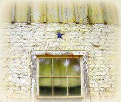 star light (bluecinderella) Tags: blue roof white brick texture window st rural tin star rust louisiana soft paint decay south mason country rustic masonry deep rusty masons washed trim chipped decayed decaying whitewashed francisville justimagine bluecinderella