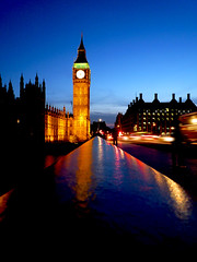 Blue Hour in London (ombre chimique) Tags: city bridge england urban london clock westminster thames architecture night river lumix evening twilight dusk housesofparliament bigben panasonic explore british lighttrails bluehour westminsterbridge traffictrails dmcfx500 exploremay162008