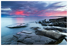 Nature's Color Display (Shawn Thompson - Lake Superior Photographer) Tags: pink blue sunset water purple smooth northshore stonypoint norhtshore lakesuerior