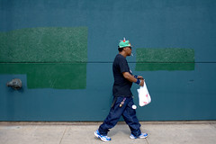 Green Top (Brian Hagy) Tags: street blue chicago green hat walk cigarette smoke 28mm broadway pedestrian il portfolio berwyn streetshot