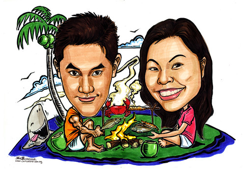 Couple caricatures BBQ on deserted island