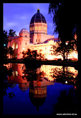 Royal Exhibition Buildings (Adam Dimech) Tags: lake reflection building water gardens architecture night buildings garden evening twilight pond carlton dusk royal australia melbourne victoria exhibition unesco worldheritagesite dome worldheritage carltongardens royalexhibitionbuildings