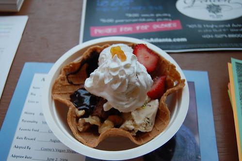 vegan waffle bowl sundae