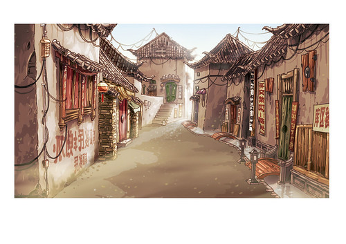 Romantic alley in China set design illustration