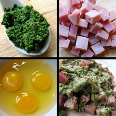 Green Eggs and Ham (.michael.newman.) Tags: food green cheese recipe ham pork garlic eggs basil drseuss pesto yolk greeneggsandham