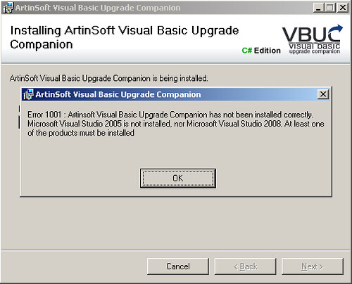 Error VBUC no Visual Studio installed