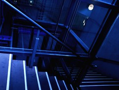 Going Under (M-J Turner) Tags: city england urban reflection glass lines modern dark underground subway geometry elevator under steps creative deep going down artificial cumbria car