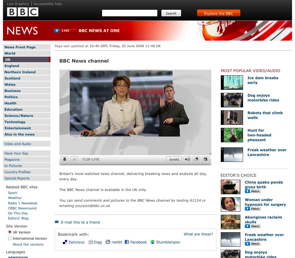 Live streaming of  the BBC 1 o'Clock news