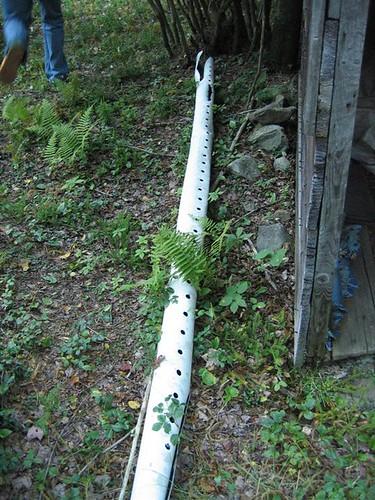 Damaged irrigation pipe