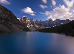 A Long Blue Moment (Ar'alani) Tags: longexposure travel mountain lake canada nature clouds landscape evening glacier alberta banff canon1022mm nd400 lakemoraine hoyamoose