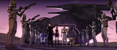 Clone troopers stand at attention for their Jedi commanders in a scene from STAR WARS: THE CLONE WARS.
