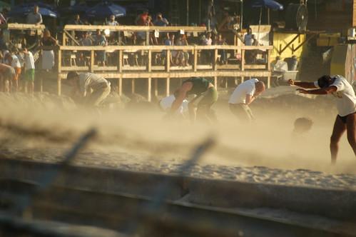 Sand blast at Maho Beach
