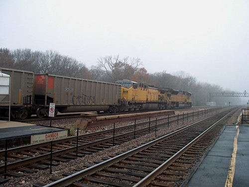 Westbound Union Pacific unit coal train passing through a thick morning fog. River Forest Illinois. November 2006. by Eddie from Chicago