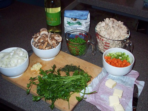 prepped ingredients for pot pie