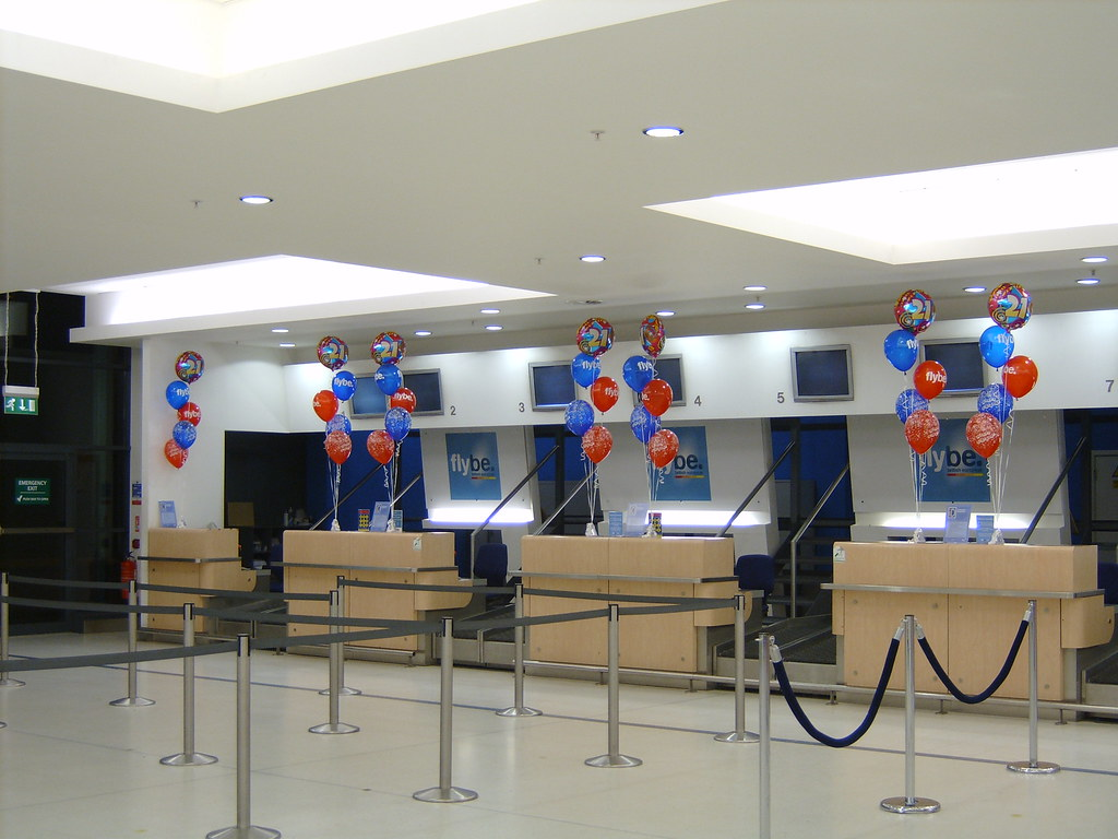 Balloon Bouquets for FlyBe at Belfast City Airport check in desks