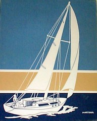 Marushka - sailboat on tan, blue, and navy stripe background