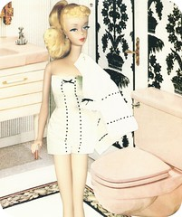 barbie in the bathroom (lorryx3) Tags: pink white black sink barbie toilet towel ponytail dreamhouse