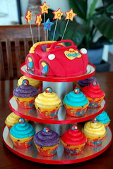 Big Red Car cupcake tower (TheLittleCupcakery) Tags: blue red car yellow cupcakes big purple little cupcake wiggles tlc cupcakery xirj klairescupcakes