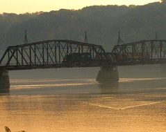 """Just ONE More... (Don3rdSE) Tags: trip railroad bridge autumn color fall water train sunrise river landscape dawn interesting october iowa explore ia mississippiriver dubuque levee waterscape canong9 """"isawyoufirst don3rdse"""