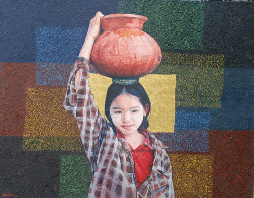 Hill Tribe of Myanmar series 7, by Tin Win, mixed media, 90x120cm