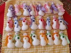 Snowman Battalion (Hoffrooe) Tags: snowmen colorfulchristmas christmastreedecorations feltornaments homemadechristmasornament