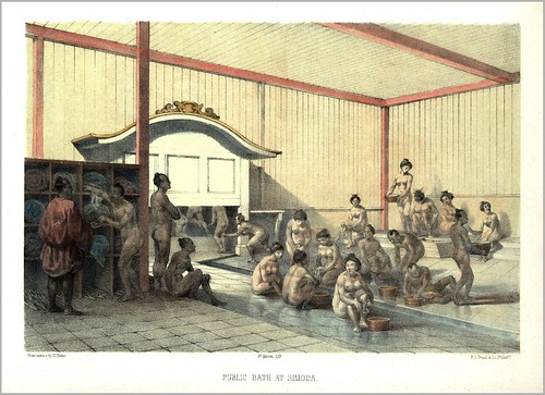 "PUBLIC BATH AT SHIMODA  --- Also known as the ""SUPRESSED BATHING PLATE"" --- Showing Some BEEFCAKE, BABES AND BOOBS in OLD 1854 JAPAN"