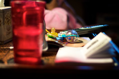 What's on our table... (Road Fun) Tags: table kleenex texas manualfocus pacifier bh rattle icewater tvguide testshot userguide universalremo