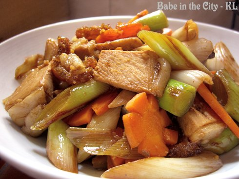 Stir-Fried Siew Yuk With Leek