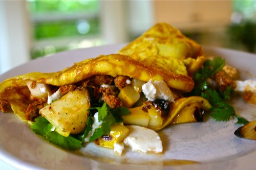 Squash, chicken chorizo, queso fresco omelette