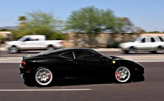 Ferrari 360 Challenge Stradale (Monkey Wrench Media) Tags: arizona italy motion black 2004 movement italian italia action 04 side profile 360 az ferrari f cs scottsdale panning coupe nero challenge stradale f360 360cs worldcars carsandcoffee redcalipers zffdu57a840139267