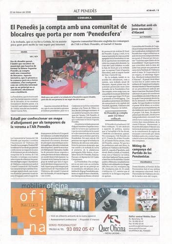 el 3 de vuit  22-2-08: El Penedès ya cuenta con una comunidad de bloggers que lleva por nombre Penedesfera