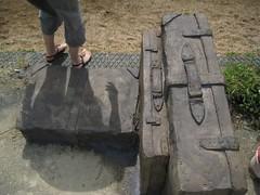 Suitcases sculpture