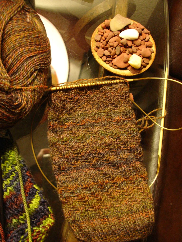 twisted tweed sock WIP