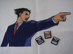 Phoenix Wright, Ace Attorney and games (benjibot) Tags: crossstitch crafts ds videogames phoenixwright