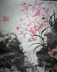 Orchid Creek (boydsshufa) Tags: ink watercolor originalart chinesebrushpainting